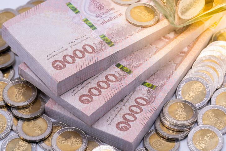 Thai baht banknotes and coins
